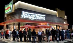 Line outside Krispy Kreme's during its grand opening